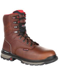 Rocky Men's Rams Horn Waterproof Work Boots - Soft Toe, Dark Brown, hi-res