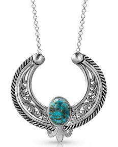 Montana Silversmiths Women's Blue Moon Turquoise Reverse Blossom Necklace, Silver, hi-res