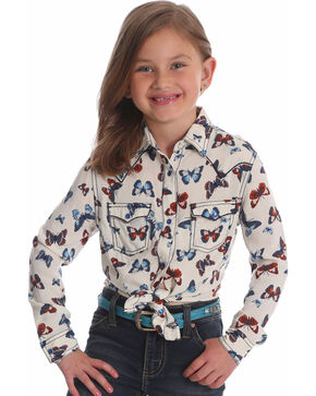 Wrangler Girls' White Butterfly Print Snap Shirt , White, hi-res