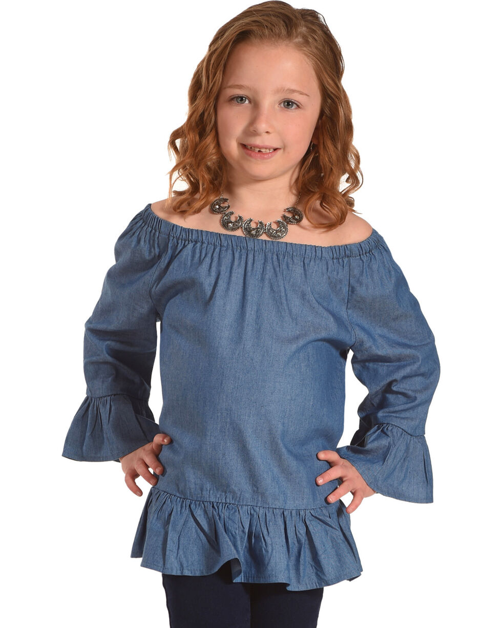 Self Esteem Girls' Blue Ruffle Sleeves Denim Peasant Top , Blue, hi-res