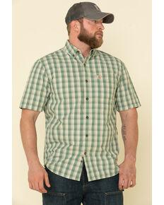Carhartt Men's Green Essential Plaid Button Down Short Sleeve Work Shirt , Green, hi-res