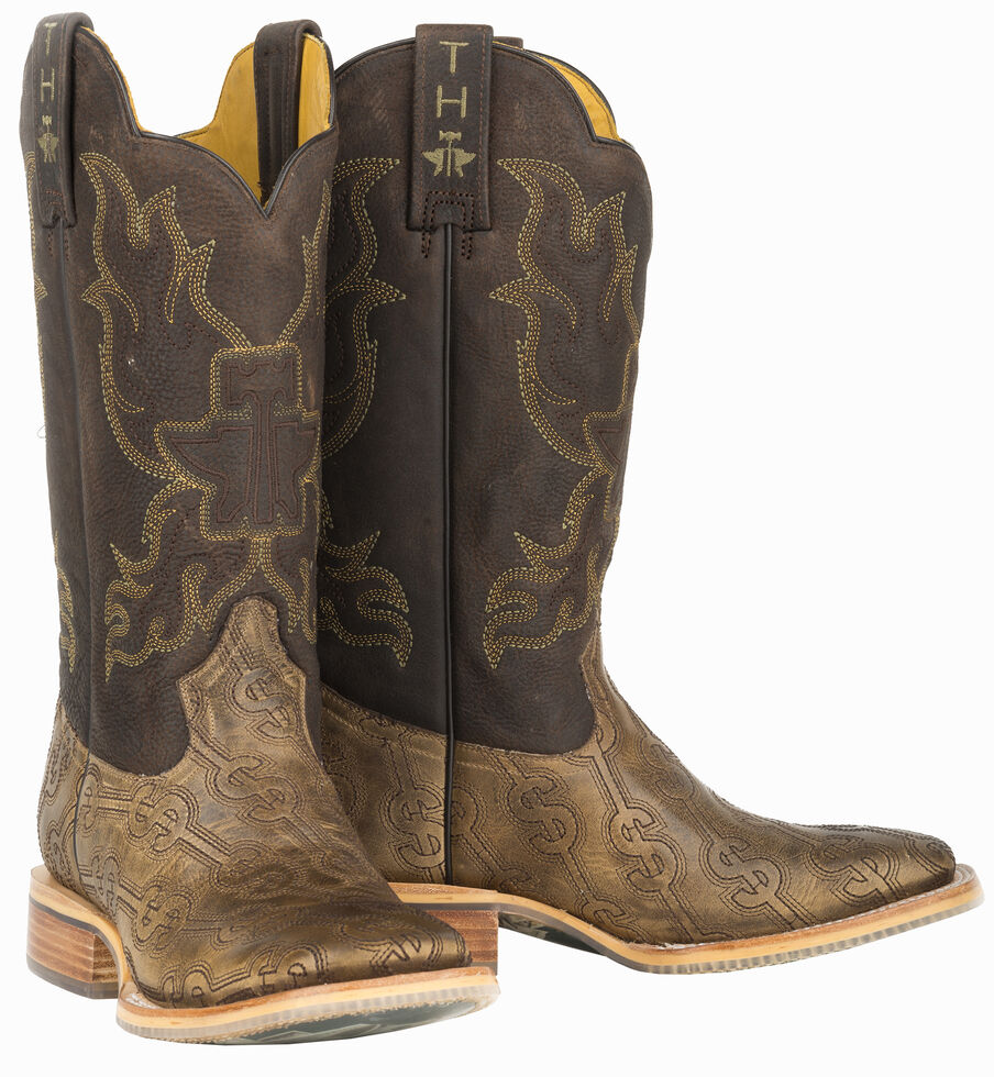 Tin Haul Blue Hawaii Cowboy Boots - Wide Square Toe , Tan, hi-res