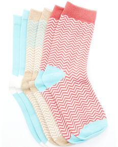 Shyanne Girls' 3 Pack Zig Zag Crew Socks, Multi, hi-res