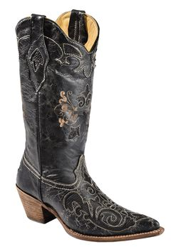 Corral Lizard Inlay Western Cowgirl Boots - Pointed Toe, Black, hi-res
