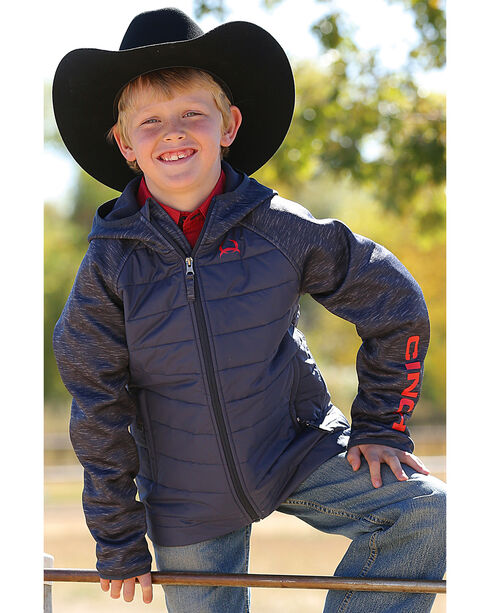 Cinch Boy's Quilted Raglan Jacket, Navy, hi-res