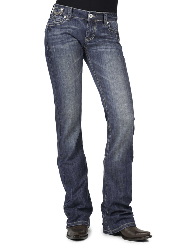 Stetson Women's 818 Fit Rhinestone Bootcut Jeans, Denim, hi-res