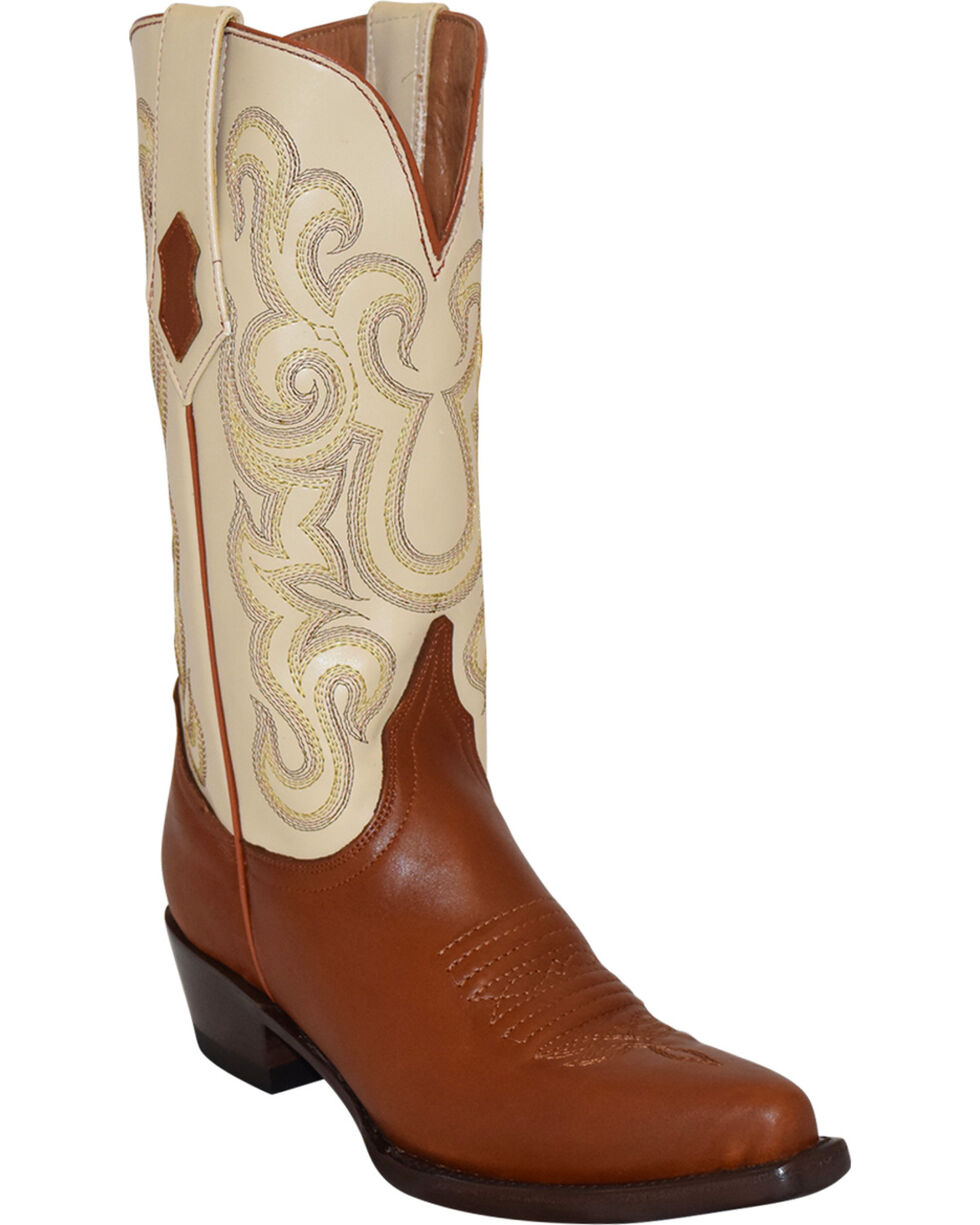 Ferrini French Calf Leather Pearl Cowgirl Boots - Snip Toe, Cognac, hi-res