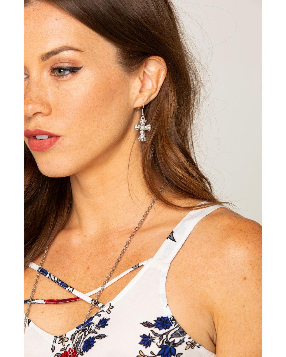 Shyanne Women's Jade Sea Cross Earrings, Silver, hi-res