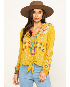 Johnny Was Women's Bamboo Donya Top, Dark Yellow, hi-res