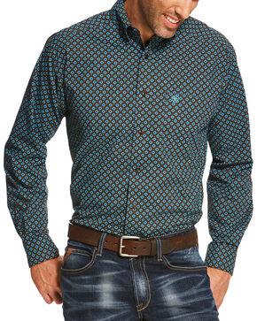 Ariat Men's Brown Pickford Print Long Sleeve Shirt - Tall, Brown, hi-res