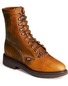 """Justin Men's Conductor 8"""" Lace-Up Work Boots - Soft Toe, , hi-res"""