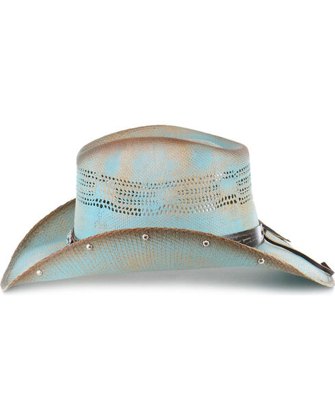 Bullhide Girls' Blue Sun West Straw Hat , Blue, hi-res