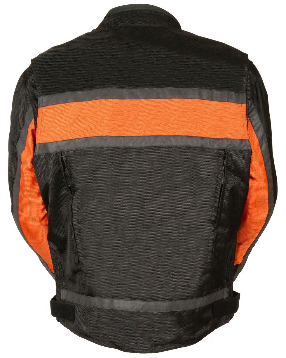 Milwaukee Leather Men's Reflective Stripe Racer Jacket, Black/orange, hi-res