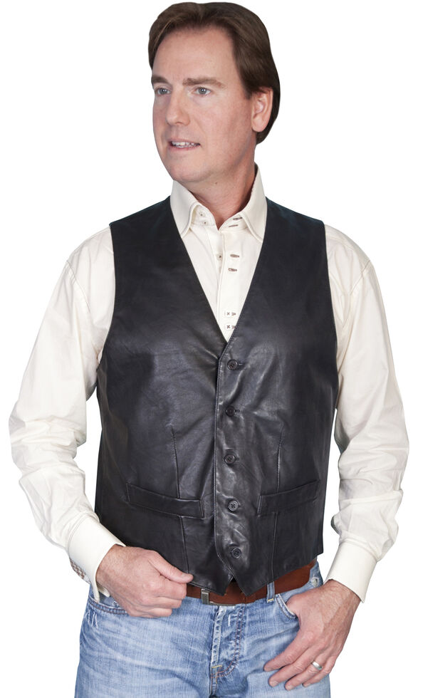 Scully Premium Lamb Leather Vest, Black, hi-res