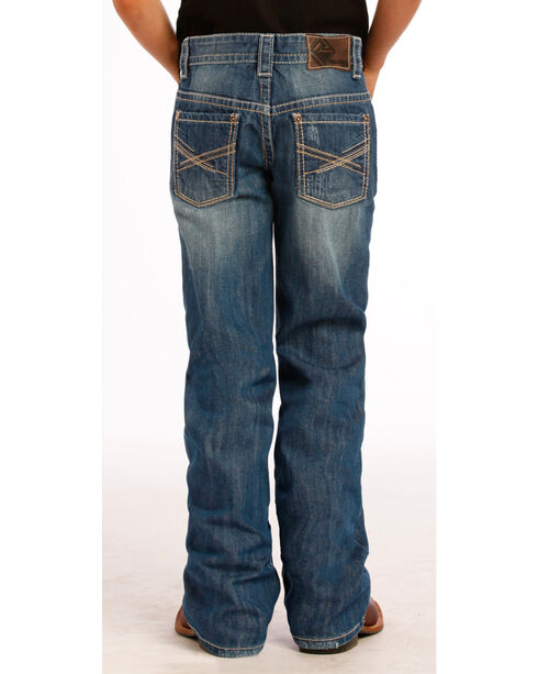 Rock and Roll Cowboy Boy's Abstract Bootcut Jeans , Indigo, hi-res