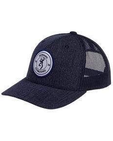 Browning Men's Denim Blue Scout Circle Logo Patch Mesh-Back Ball Cap , Blue, hi-res