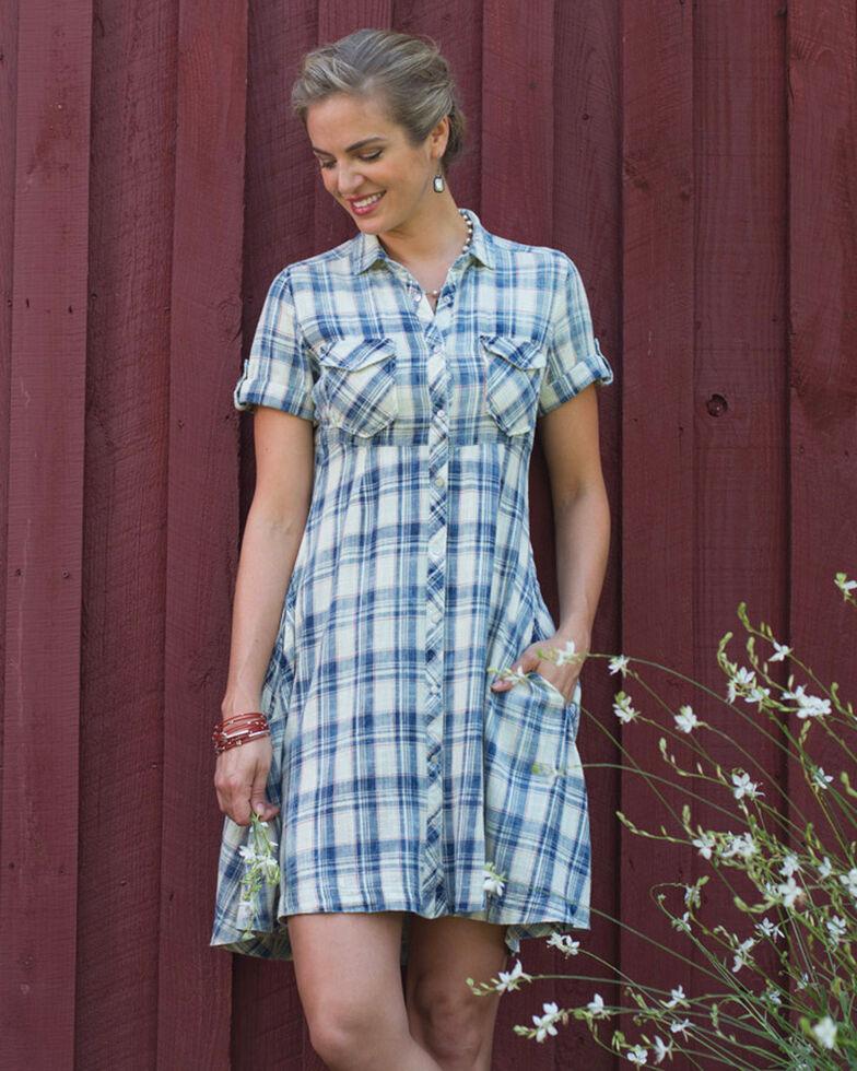 Ryan Michael Women's Indigo Ketchum Plaid Swing Dress , , hi-res