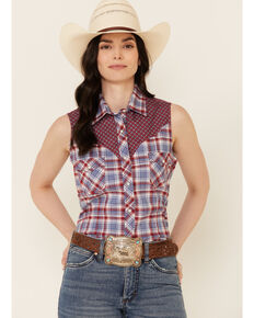 Rough Stock By Panhandle Women's Multi Plaid Contrast Yoke Sleeveless Snap Western Core Shirt , Red/white/blue, hi-res