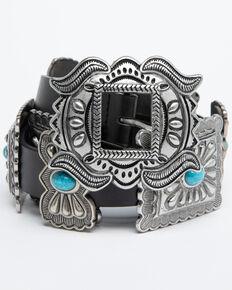 Shyanne Women's Turquoise Concho Belt, Black, hi-res