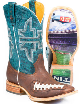 Tin Haul Men's Football Stadium Cowboy Boots - Square Toe, Brown, hi-res