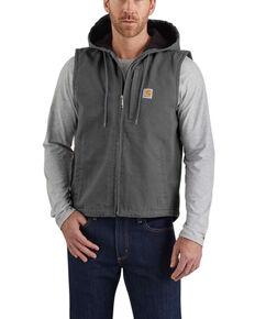 Carhartt Men's Gravel Washed Duck Knoxville Vest , Grey, hi-res