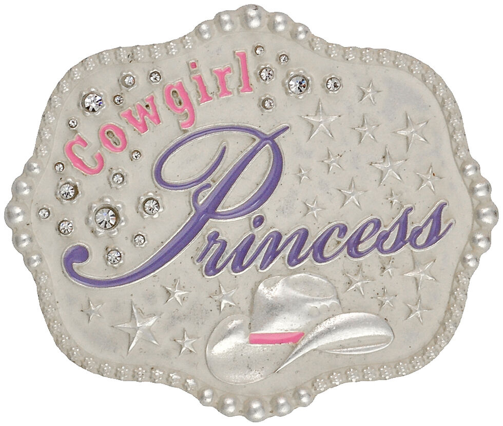 Montana Silversmiths Kids' Cowgirl Princess Attitude Belt Buckle, Silver, hi-res