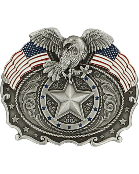 Nocona Men's American Flag & Bald Eagle Belt Buckle, Silver, hi-res