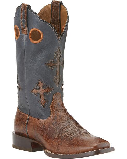 Ariat Ranchero Cowboy Boots - Wide Square Toe, Brown, hi-res