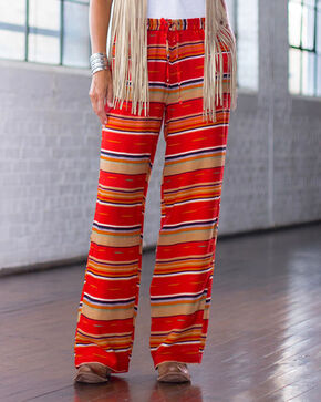 Ryan Michael Women's Red Serape Stripe Drawstring Pants , Red, hi-res