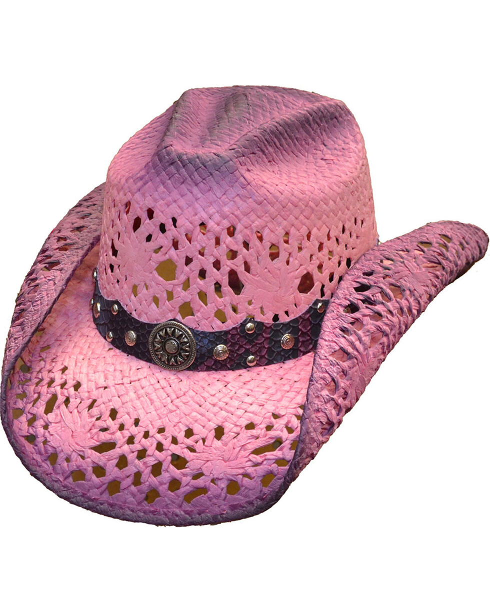 Western Express Women's Hot Pink Straw Hat, , hi-res