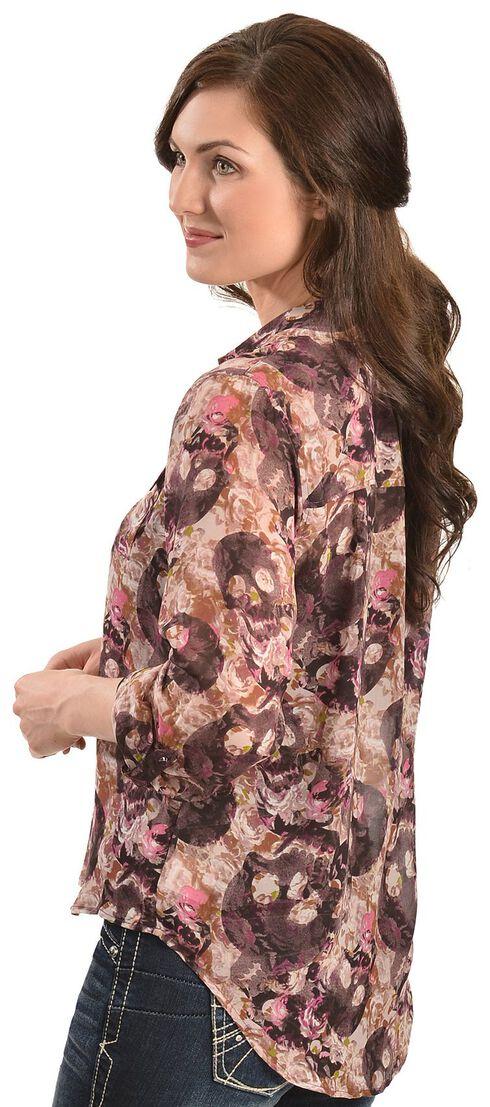 Ariat Selma Floral & Skull Print Chiffon Top, Multi, hi-res