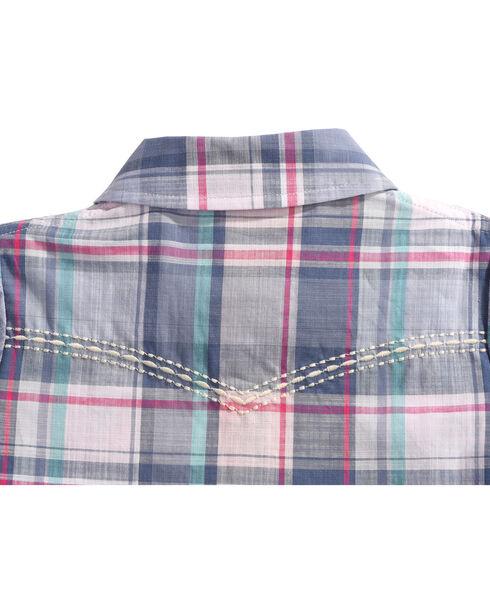 Shyanne Infant Girls' Plaid Long Sleeve Onesie, Blue, hi-res