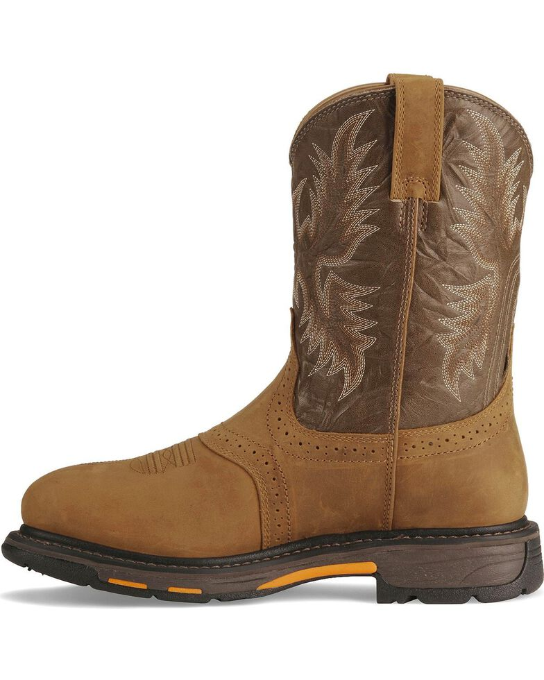 Ariat Men's Brown H20 Workhog Work Boots - Round Toe, Aged Bark, hi-res