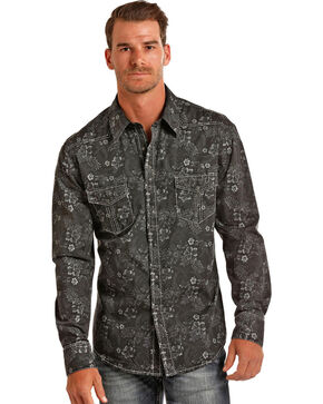 Rock & Roll Cowboy Men's Black Striped Floral Shirt , Black, hi-res