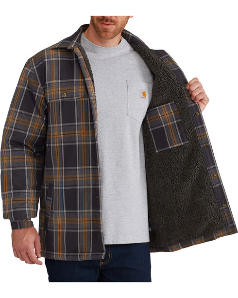 Carhartt Men's Hubbard Sherpa-Lined Shirt Jacket , Black, hi-res