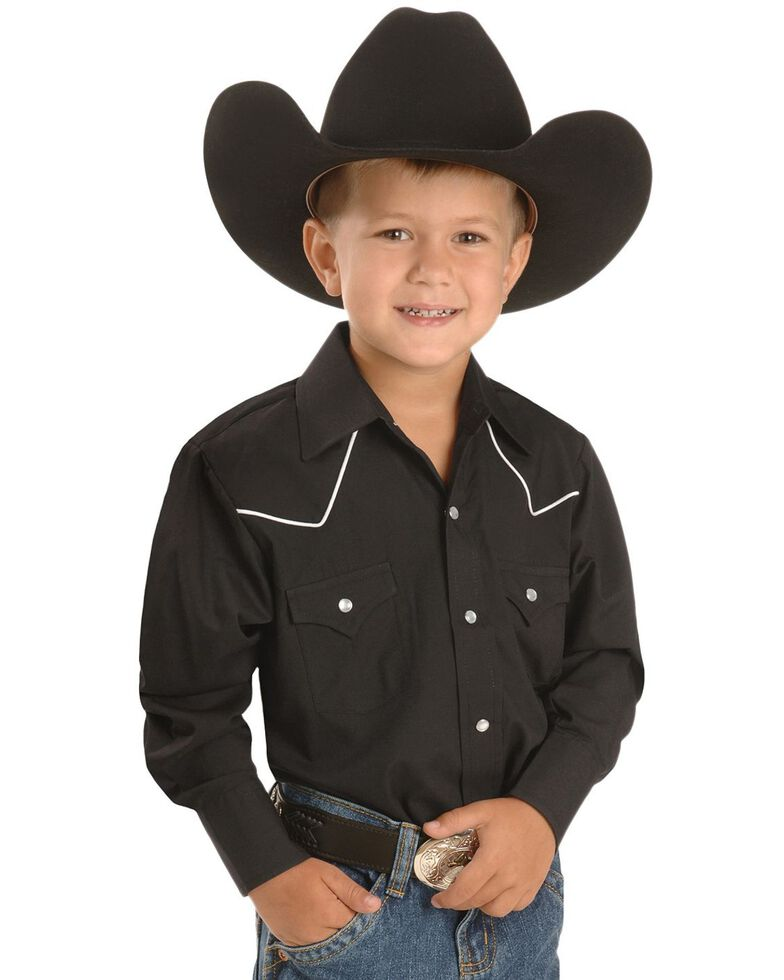 Ely Boys'  Western Shirt - 2-16, Black, hi-res