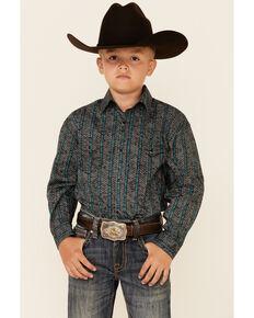 Panhandle Select Boys' Teal Poplin Print Long Sleeve Snap Western Shirt , Teal, hi-res