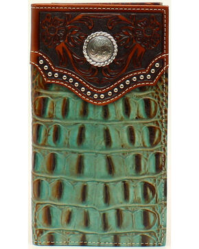 Nocona Men's Rodeo Croc Rawhide Wallet, Tan, hi-res