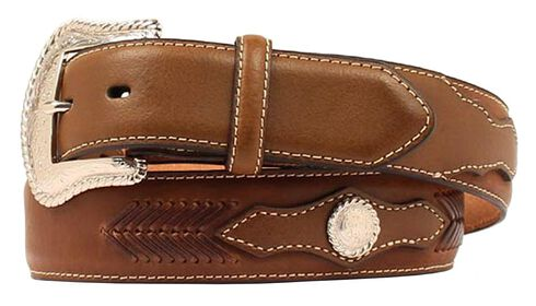 Nocona Scalloped Overlay with Concho Leather Arrow Lacing Belt, Brown, hi-res