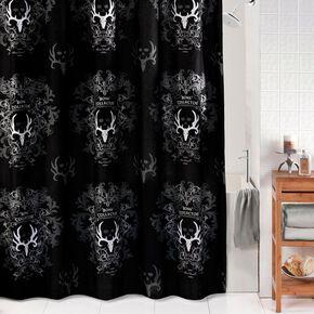 Bone Collector Black Shower Curtain, Black, hi-res
