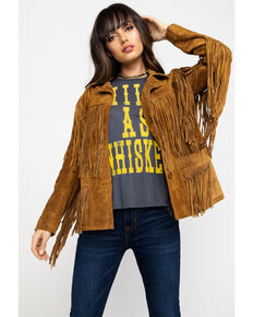 Liberty Wear Fringe Leather Jacket, Tobacco, hi-res