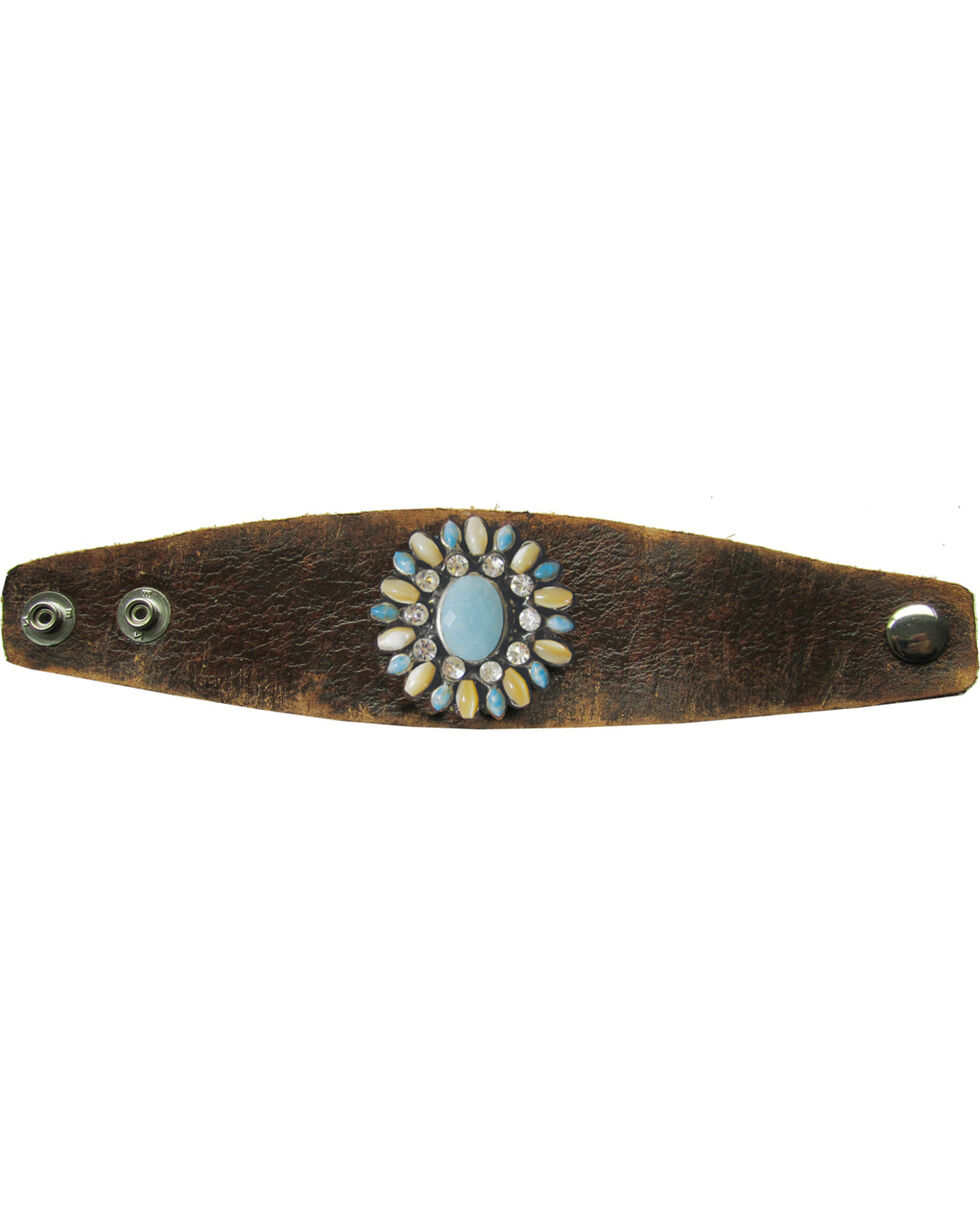 Cowgirl Confetti Leather Multi-Stone Flower Cuff, Brown, hi-res