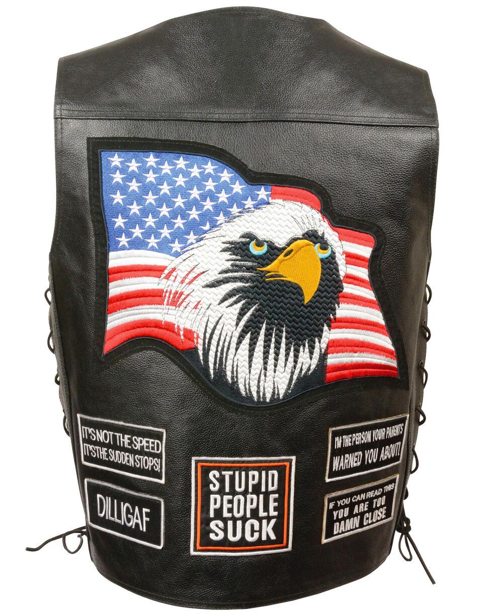 Milwaukee Leather Men's Side Lace Eagle & Flag Patch Vest - 5X, Black, hi-res
