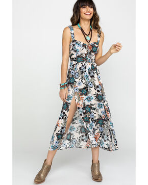Shyanne Women's Floral Sweetheart Button Front Slit Dress , Olive, hi-res