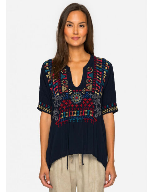 Johnny Was Women's Glyeis Rayon Blouse , Navy, hi-res