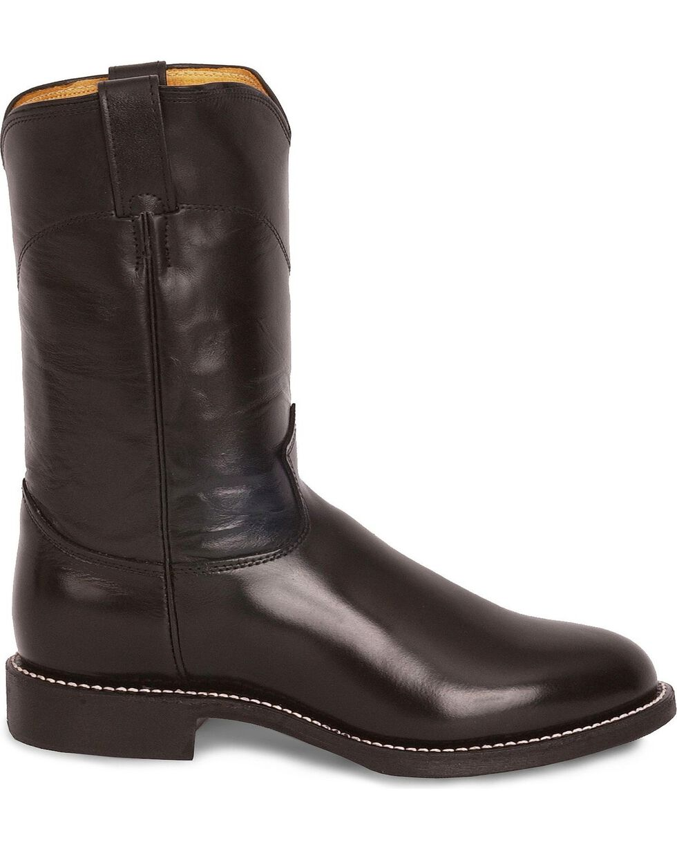 Justin Melo-Veal Leather Roper Boots - Round Toe, Black, hi-res