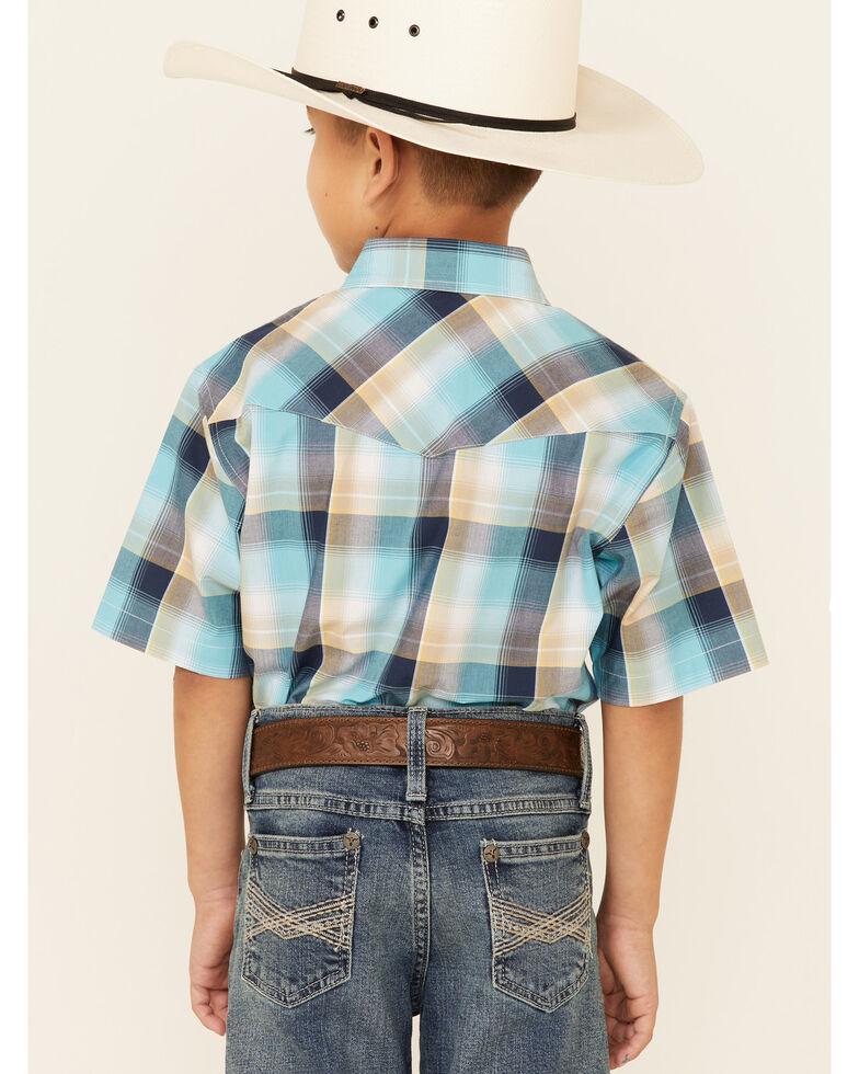 Roper Boys' Lake Shore Pool Plaid Short Sleeve Western Shirt , Blue, hi-res