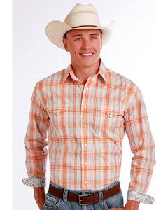 Panhandle Slim Men's Orange Superior Ombre Plaid Long Sleeve Shirt , Orange, hi-res