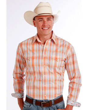 Panhandle Slim Men's Orange Superior Ombre Plaid Long Sleeve Shirt , Orange, hi-res