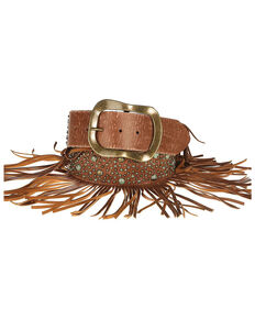 Lyntone Women's Cognac Fringe Leather Belt, Cognac, hi-res